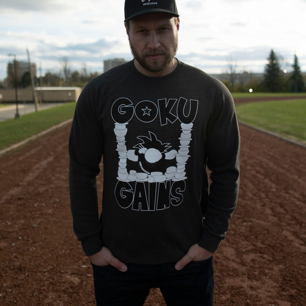 Goku Gains Signature Crew BLACK EDITION - Gunmetal Heather - Furious Apparel