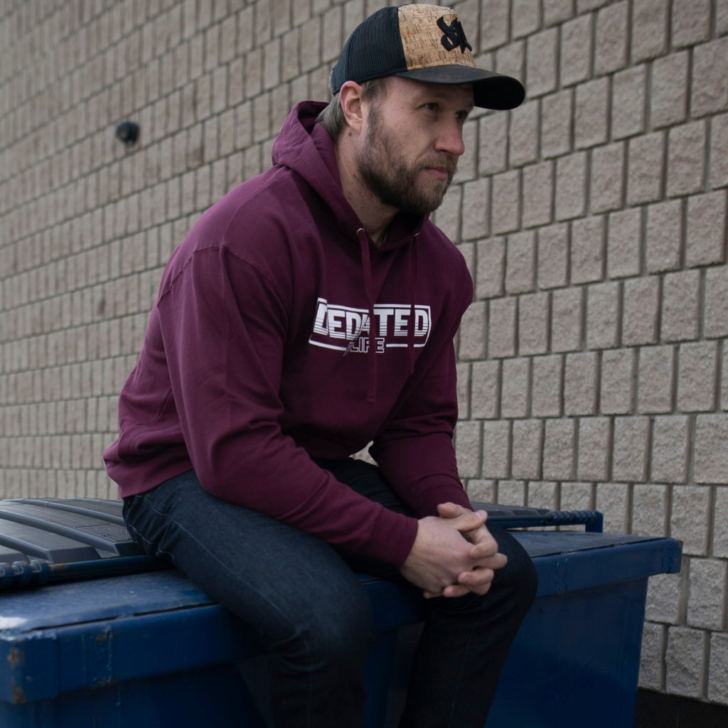 Retro Hoodie - Burgundy - Furious Apparel