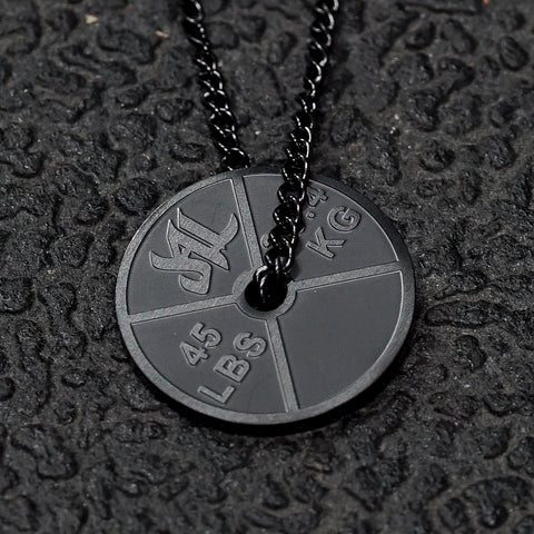 Matte Black Stainless Steel Weight Plate Necklace