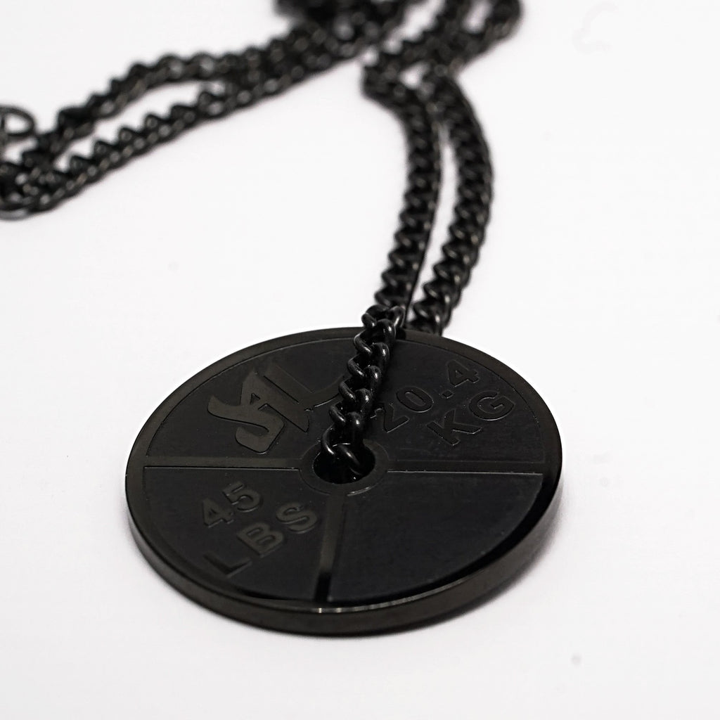 Polished Black Stainless Steel Weight Plate Necklace - Furious Apparel
