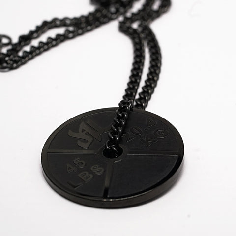Polished Black Stainless Steel Weight Plate Necklace