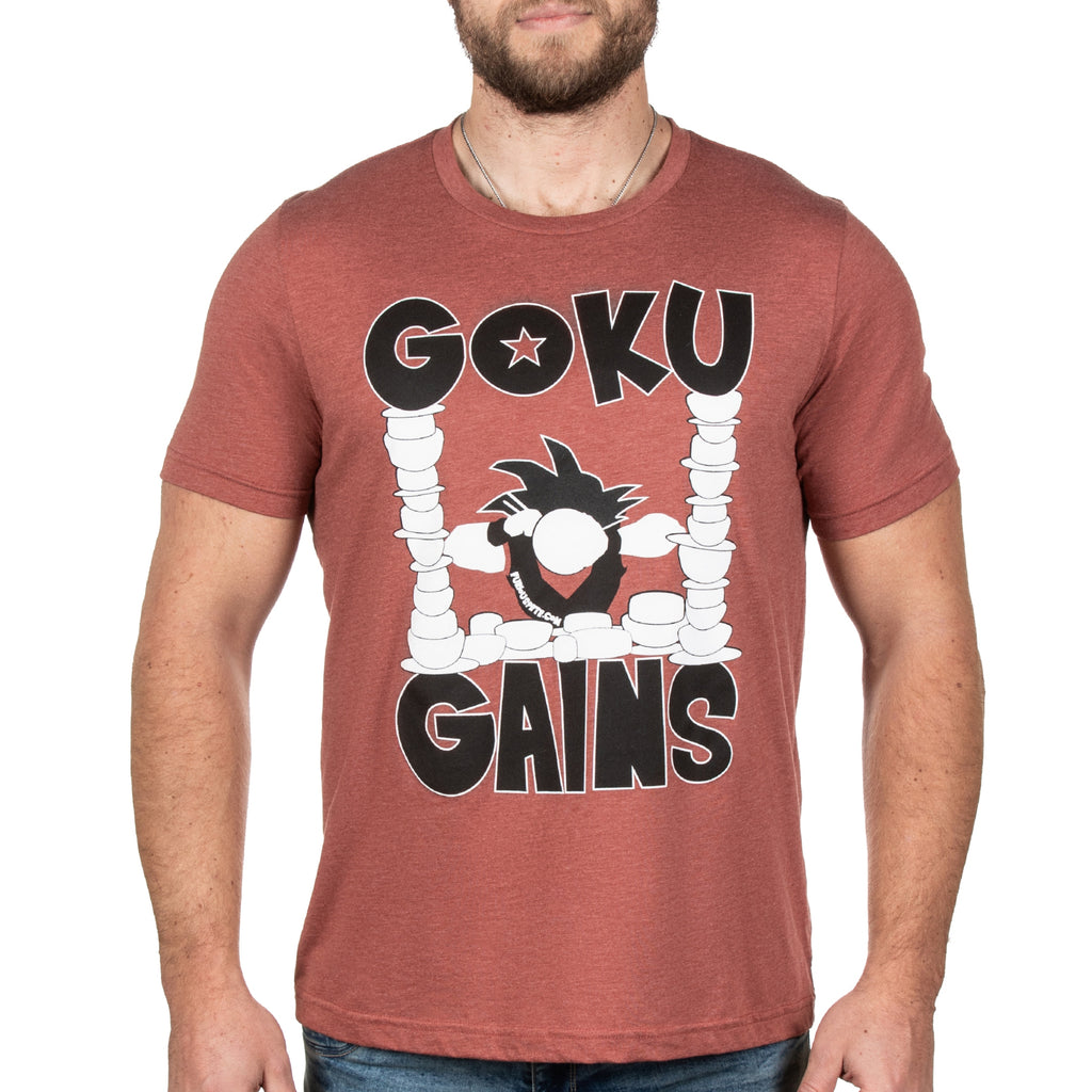Goku Gains Tee BLACK EDITION - Heather Clay - Furious Apparel