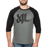 Fragmented Raglan Tee - Deep Heather - Furious Apparel