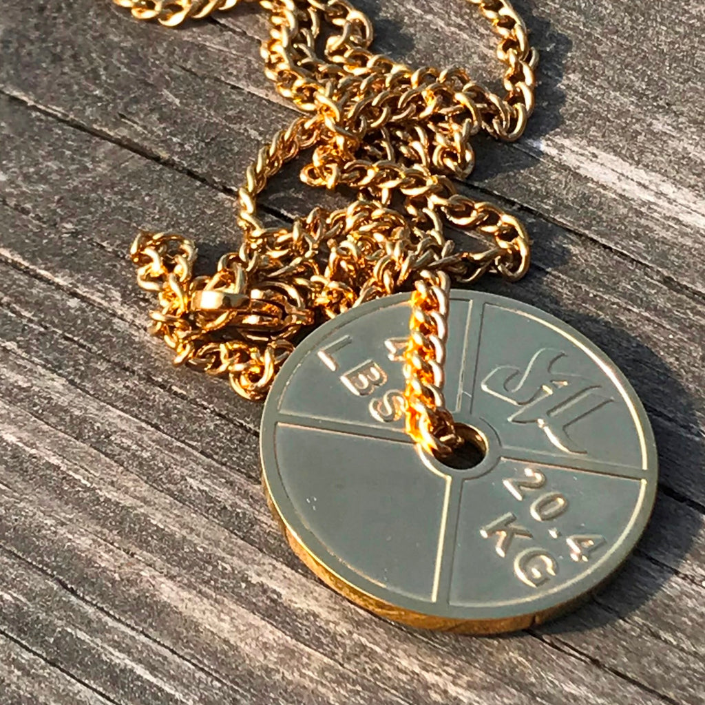 18K Gold Stainless Steel Weight Plate Necklace - Furious Apparel
