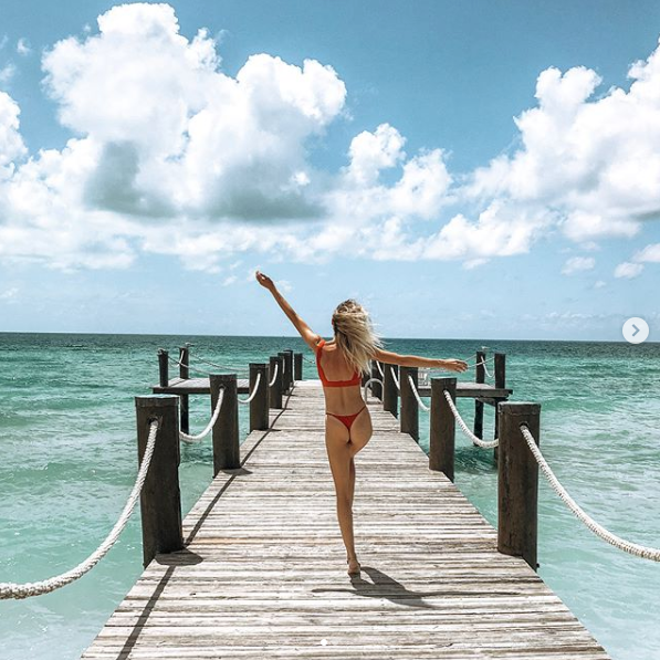 Lauren Bushnell in Bahamas wearing red bikini from Frankies Bikinis