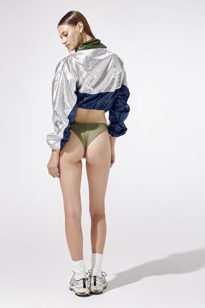 Aiello by Frankies Bikinis Navy Drift Crop Windbreaker Resort 2019