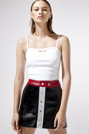 Aiello by Frankies Bikinis White Logo Baby Tank Resort 2019