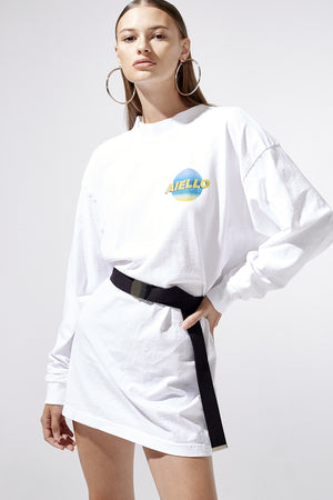 Aiello by Frankies Bikinis White Logo Long Sleeve Tee Resort 2019