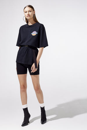 Aiello by Frankies Bikinis Black Logo Oversized Tee Resort 2019