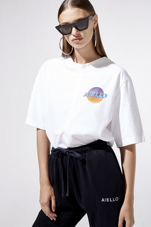 Aiello by Frankies Bikinis White Logo Oversized Tee Resort 2019