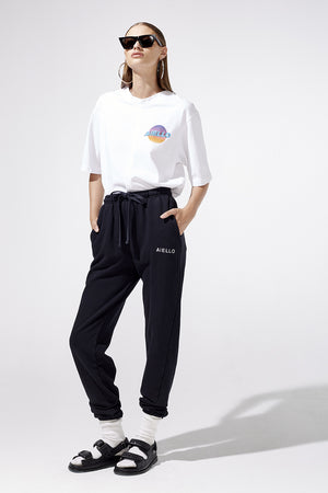 Aiello by Frankies Bikinis Black Logo Sweat Pant Resort 2019
