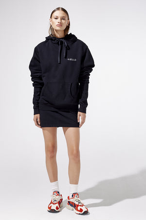 Aiello by Frankies Bikinis Black Logo Terry Hoodie Resort 2019