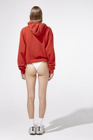 Aiello by Frankies Bikinis Red Logo Terry Hoodie Resort 2019