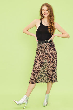 Aiello by Frankies Bikinis Leopard Margay Midi Georgette Skirt 2019