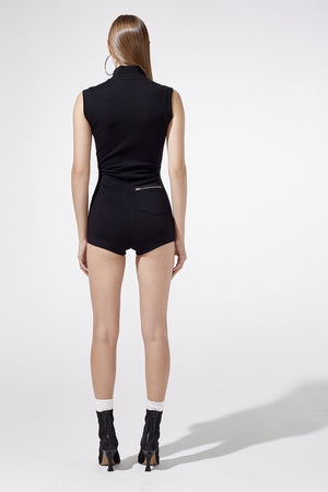 Aiello by Frankies Bikinis Black Speed Knit Zip Playsuit Resort 2019