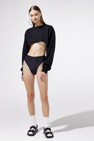 Aiello by Frankies Bikinis Black Swerve Cut Out Sweatshirt Resort 2019