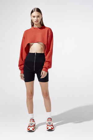 Aiello by Frankies Bikinis Red Swerve Cut Out Sweatshirt Resort 2019