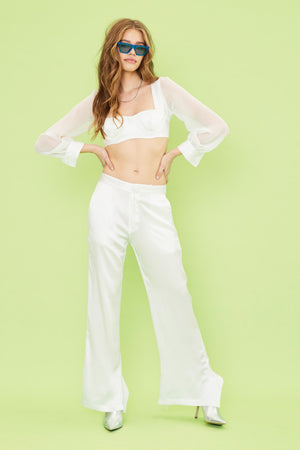 Aiello by Frankies Bikinis White Tides Silk Trousers 2019