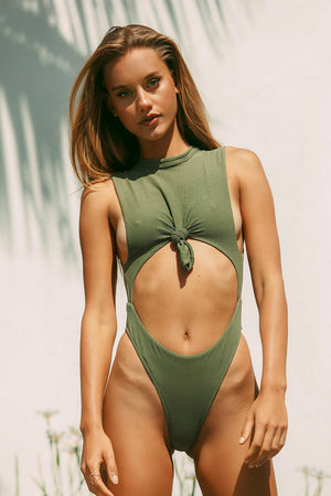 Frankies Bikinis Blake One Piece Olive Rib Knotted Detail with Cheeky Coverage