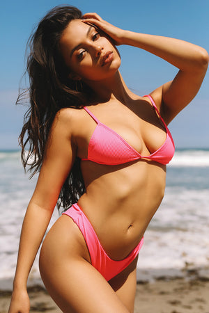 Frankies Bikinis Chase Neon Heart Throb Pink Ribbed Triangle Top