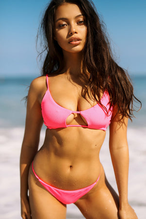 Frankies Bikinis Willa Heart Throb Pink Ribbed Peek-a-boo Cutout Top with Braided Adjustable Ties
