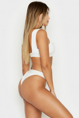 Frankies Bikinis Drew White High Cut Cheeky Ribbed Bottoms