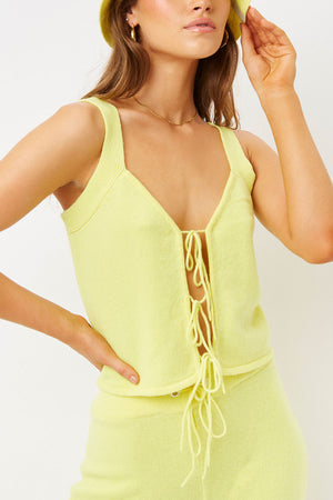 abbot cintronella yellow cashmere tie tank top