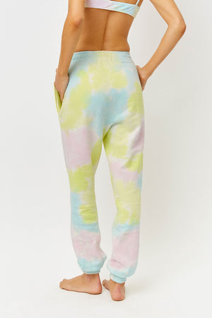 Frankies Bikinis Aiden Rainbow Tie Dye Slim Fit Sweatpant