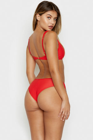 Frankies Bikinis Alana Red Cheeky Ribbed Bottom with Button Detail