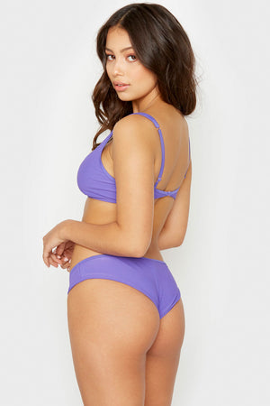 Frankies Bikinis Alana Amethyst Cheeky Ribbed Bottom with Button Detail