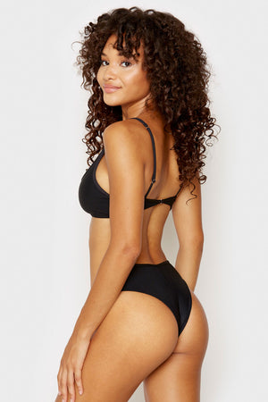 Frankies Bikinis Alana Black Cheeky Ribbed Bottom with Button Detail