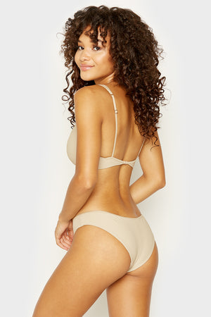 Frankies Bikinis Alana Latte Cheeky Ribbed Bottom with Button Detail