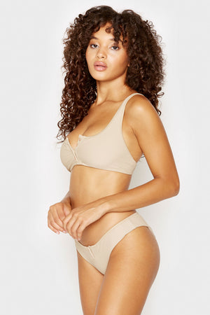 Frankies Bikinis Alana Latte Ribbed Top with Rose Gold Button Detail