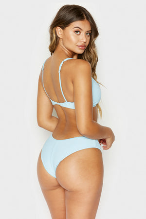 Frankies Bikinis Alana Powder Blue Ribbed Top with Button Detail