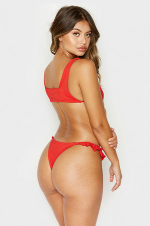 Frankies Bikinis Ali Red Skimpy Bottom with Ruffle Detail