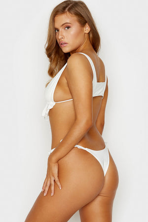 Frankies Bikinis Ali White Skimpy Bottom with Ruffle Detail