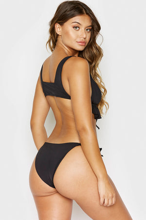 Frankies Bikinis Aliyah Black Cheeky Bottom with Ruffle Detail