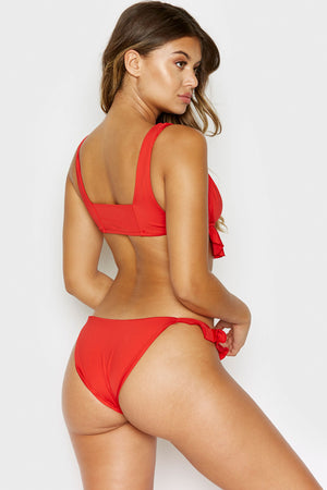 Frankies Bikinis Aliyah Red Cheeky Bottom with Ruffle Detail