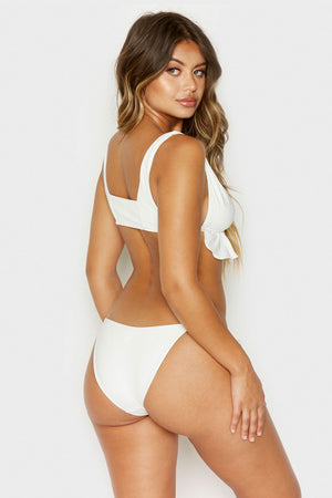 Frankies Bikinis Aliyah White Cheeky Bottom with Ruffle Detail