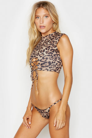 Frankies Bikinis Ashley Leopard Muscle Tee Lace Up Top