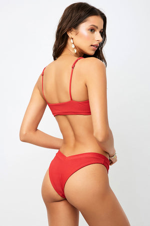 Frankies Bikinis Austin Cherry V-shape Ribbed Cheeky Bottom