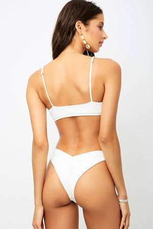 Frankies Bikinis Austin White V-shape Ribbed Cheeky Bottom