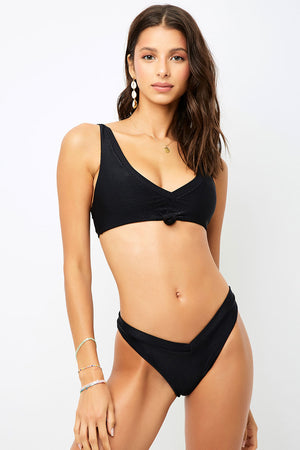 Frankies Bikinis Austin Black Ribbed Knotted Top