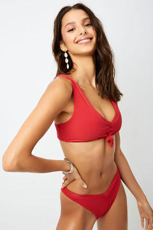 Frankies Bikinis Austin Cherry Ribbed Knotted Top