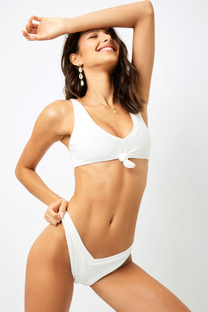 Frankies Bikinis Austin White Ribbed Knotted Top
