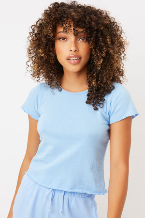 Baby Tee Chambray Ribbed High Neck Crop Top
