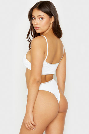 Frankies Bikinis Baby White High Leg Mini Ribbed Skimpy Bottom