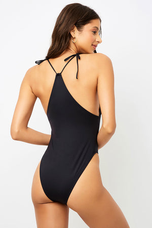 Frankies Bikinis Banks Black One Piece Classic Coverage