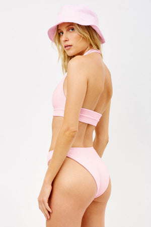 Frankies Bikinis Barb Baby Pink Terry Cheeky High Leg Bottom