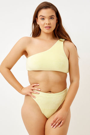 Frankies Bikinis Barb Buttercup Terry One Shoulder Top